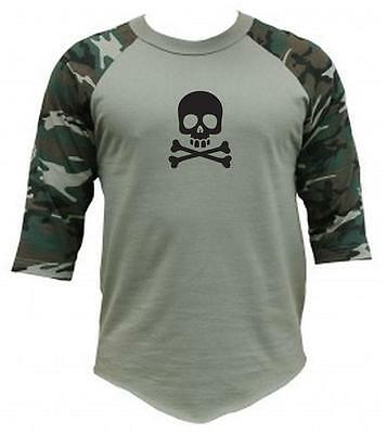 "Men Women Printed ""SKULL"" Camo camouflage 3/4 Sleeve Raglan BaseBall T-Shirts"
