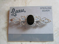 On Card Genuine Sterling Silver And Onyx Filigree Pin Brooch From Beau