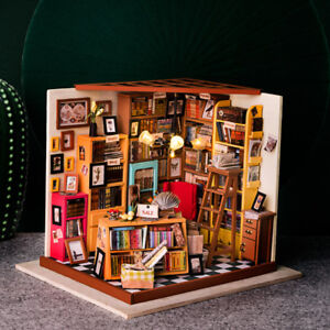 Details about ROBOTIME DIY Dollhouse Library Miniature Books Store Kits  Wooden Gift for Girl