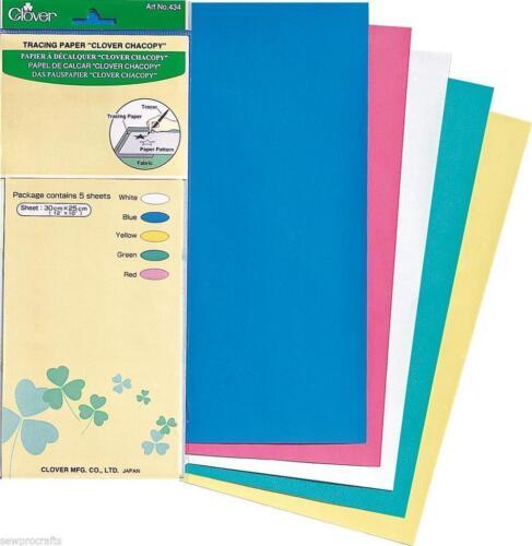 30 cm x 25 cm Clover Premium Chacopy Papier calque 5 feuilles 5 couleurs