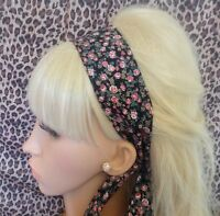 BLACK DITSY FLORAL PRINT RETRO COTTON HEADBAND HAIR SCARF SELF TIE BOW VINTAGE