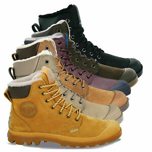 Palladium Mens Pampa Sport Cuff Waterproof Suede Leather Shoe Wool Lined Boots
