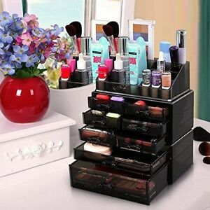 Image is loading Holder-Makeup-Stand-Drawers-Cosmetic-Organizer-Lipstick- Storage-