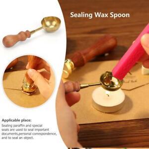 Retro-Vintage-Brass-Wax-Melting-Spoon-Stamp-Seal-DIY-Wood-Handle-Sealing-Wedding