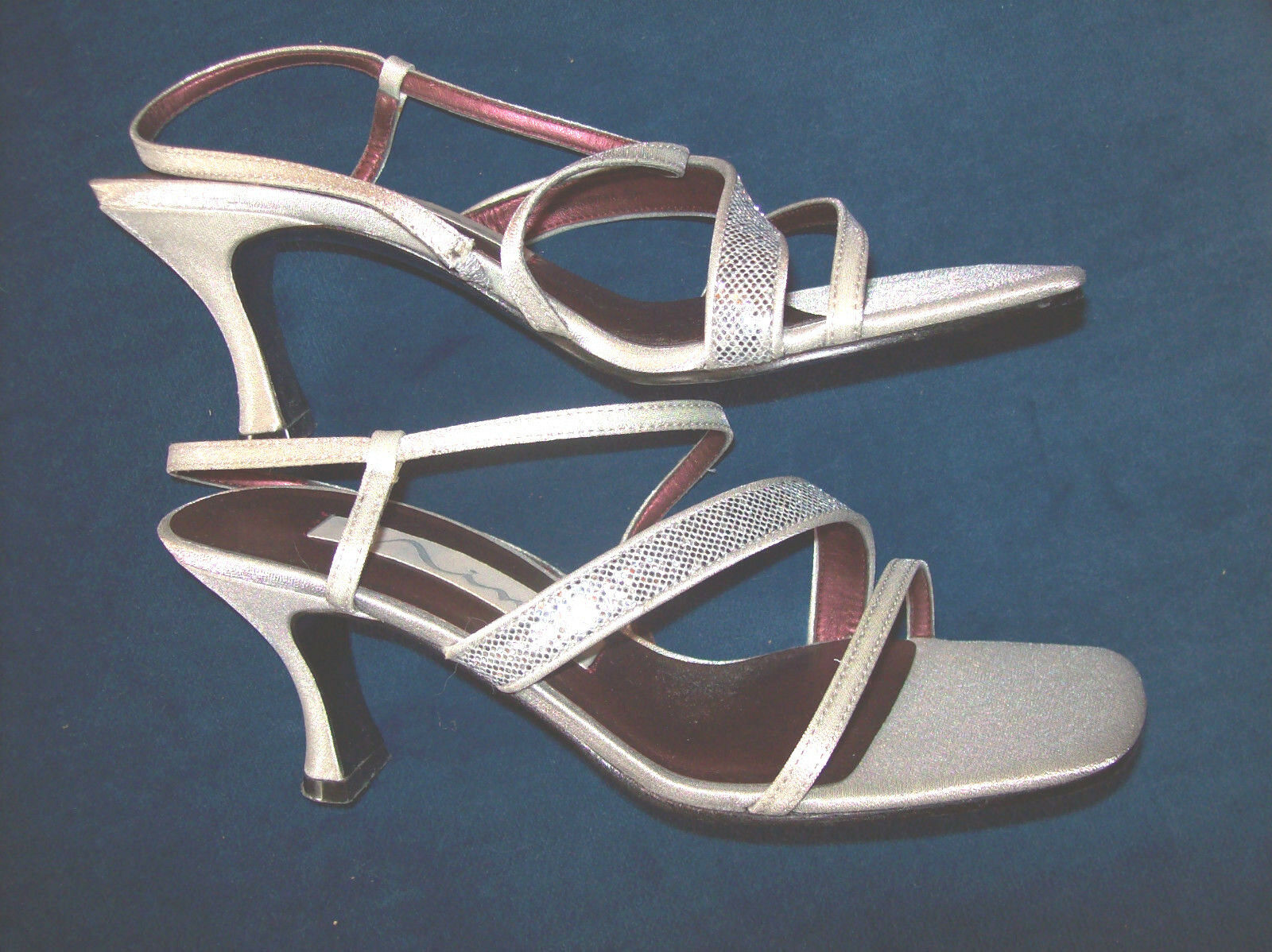 LADIES DRESS SANDALS  BY  NINA SILVER HIGH HEEL WITH SILVER GLITTER STRAP