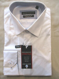 REPORT COLLECTION SLIM STRETCH COLLAR EASY CARE DRESS SHIRT BLACK 16 32//33