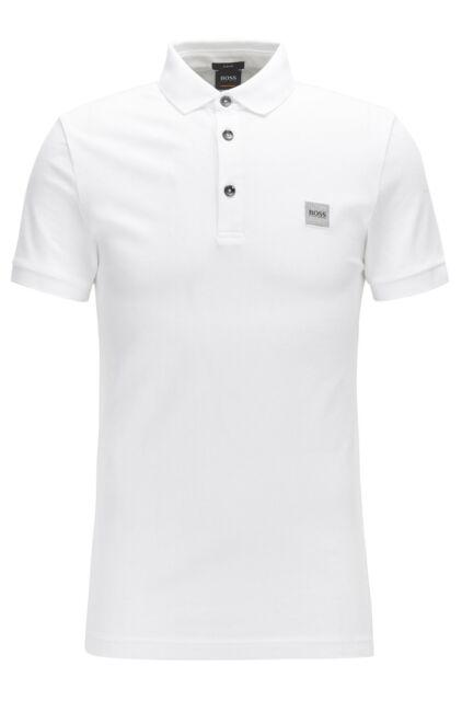 f5868295c Hugo Boss Mens Casual Passenger Logo Branded Slim-Fit Cotton Polo T-Shirt  White