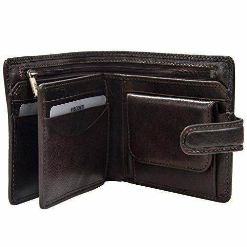 Visconti TSC42 Mens RFID Secure Blocking Leather Bifold Wallet ID  Holder Brown