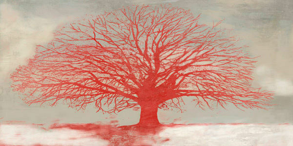 Alessio Aprile  rot Tree Keilrahmen-Bild Leinwand Baum Solitär rot Bäume