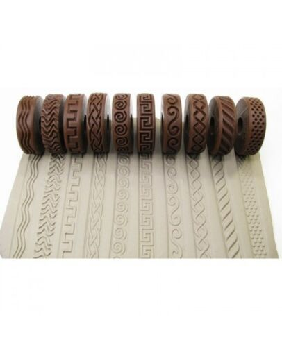 Rélyéf set of debossed waves Pottery texturing ceramic clay rollers 10 pcs.