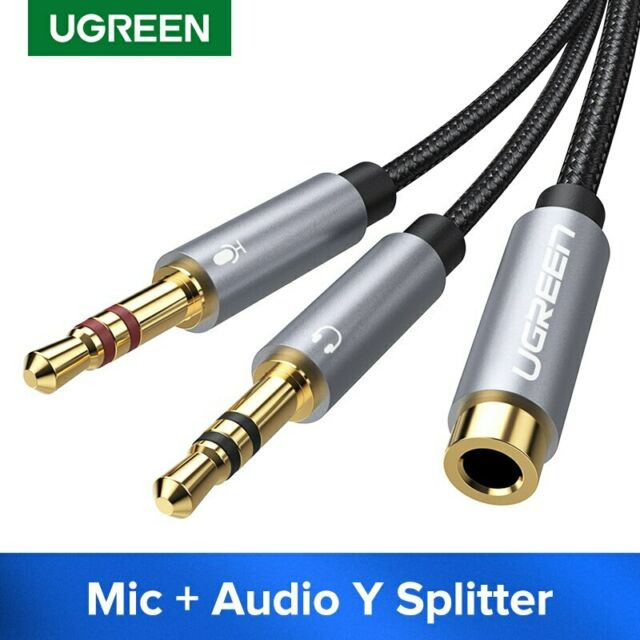 Ugreen 3.5mm Female to 2 Dual Male Headphone Mic Audio Y Splitter Cable Adapter