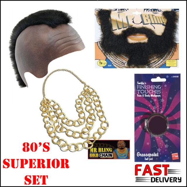 Mr T 80s TV Fancy Dress BA Baracus A 80s Movie Mohawk Gangster Team Accessory