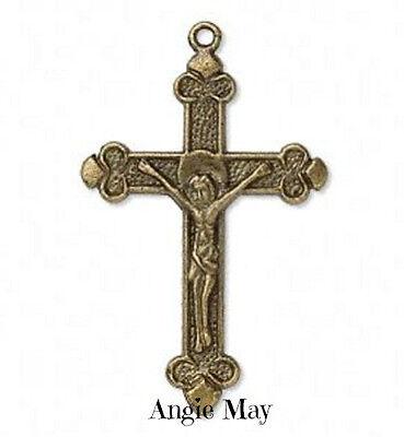 Wholesale Lot 20 Antiqued Brass Crucifix Cross Pendants