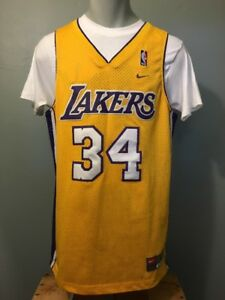 the best attitude 3c0b2 f8212 Details about Vtg Nike Shaquille O'Neal LA Lakers Jersey Mens L NBA  Basketball Uniform Shirt
