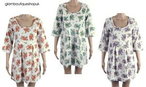 BN-WHITE-STUFF-FLORAL-SUMMER-COTTON-TUNIC-DRESS-RED-PURPLE-GREEN-SIZE-10-16-15