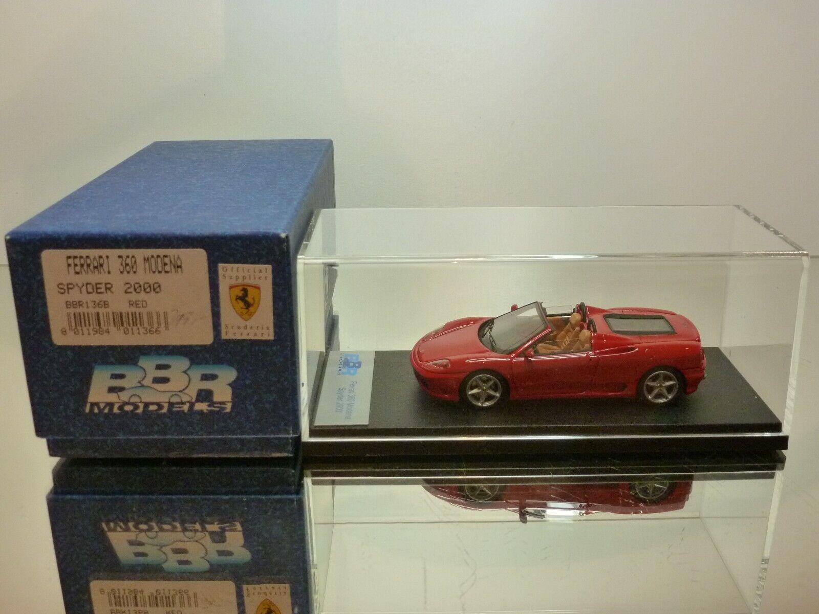 BBR MODELS BBR136B FERRARI 360 MODENA SPYDER 2000 - rojo 1 43 - MINT IN BOX