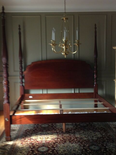 Ethan Allen King Rice Carved Poster Bed