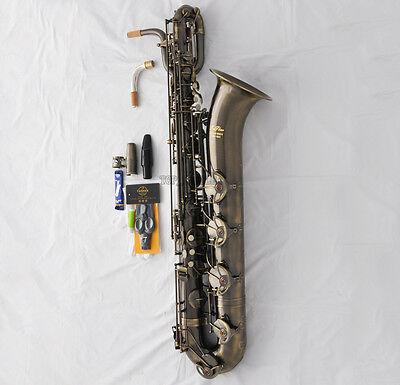 Professional TaiShan Antique Baritone sax Eb Bari Saxophone 2 Neck+Germany Mouth