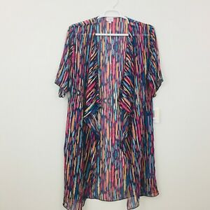 Lularoe-Shirley-Donna-Cardigan-Taglia-M-Kimono-Coverup-Sheer-multicolor