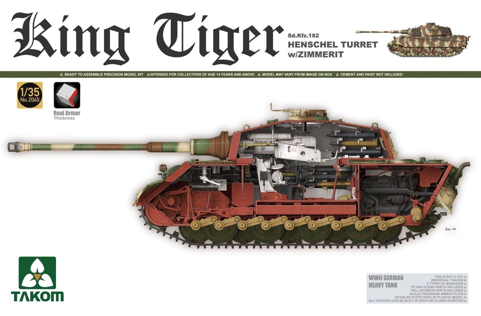 Takom 2045 1 35 Sd.Kfz.182 King Tiger Henschel Turret w Zimmerit