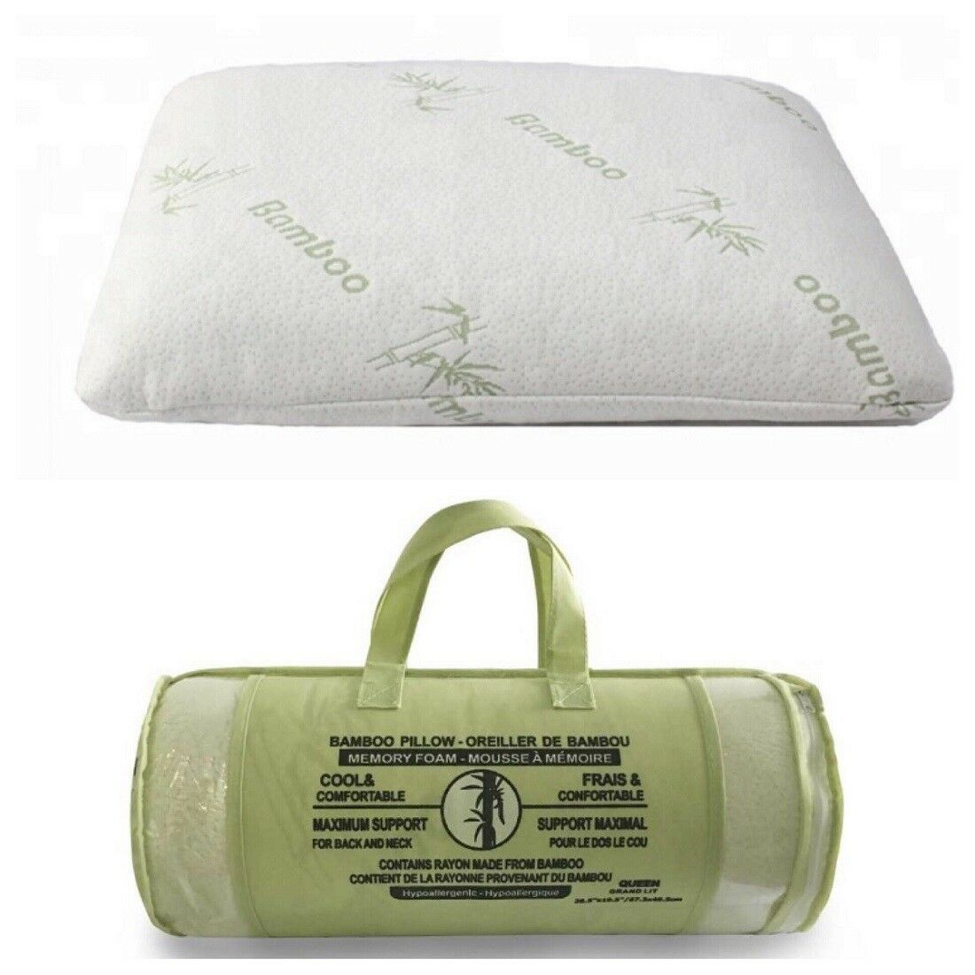 Memory Foam Bamboo Pillow Hypoallergenic 2 Pieces Queen & King Adjustable Fill