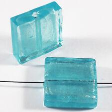 Lot de 4 perles en verre Feuille d'Argent Carrées 20mm Aquamarine