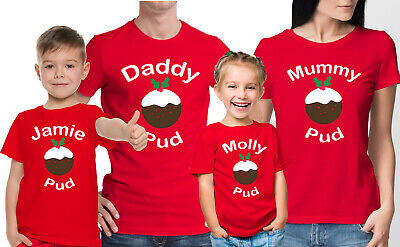 Custom Family Christmas red t-shirts set with glitter Santa mouse head.