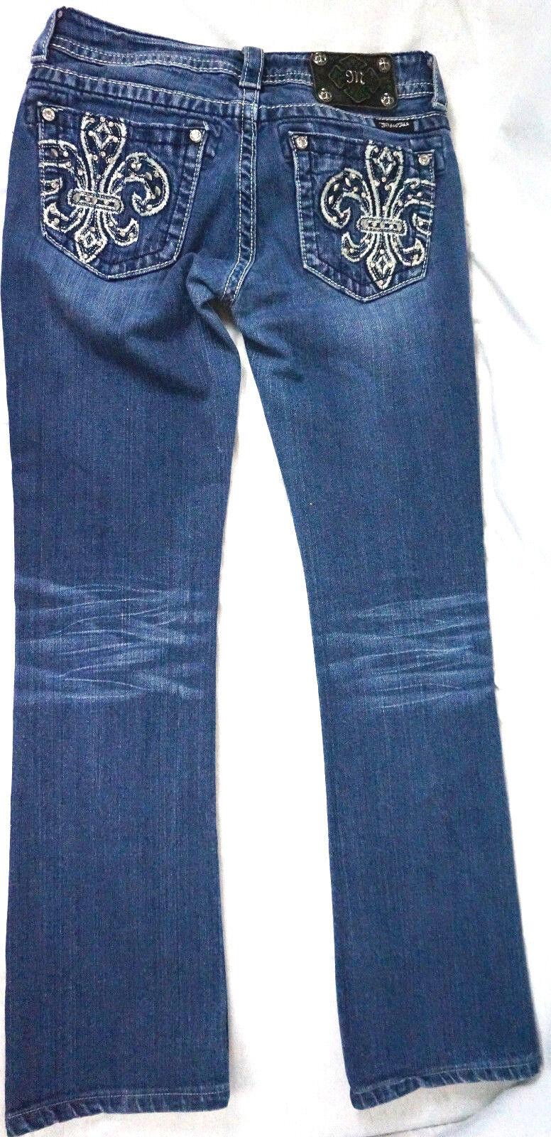 Miss Me Jeans Size 27 x30 Crystal Bling Fleur De Lis Bling Boot Cut Womens