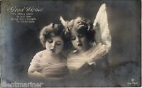Two Little Girls (Angels), old RP Greetings postcard, posted 1914