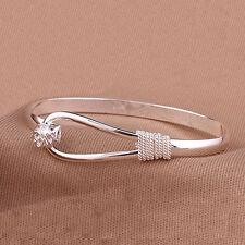 Women Flower Pattern Silver Clip-on Button Cuff Bracelet Bangle Jewelry Gift