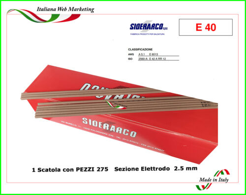 RUTILE welding electrodes 2.5 x 300 Type Very Red PZ 275 siderarco and 42