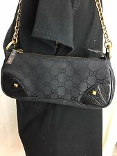 GUCCI SMALL CANVAS MONOGRAM BAG/ CLUTCH.  LEATHER ACCENTS  GOLD CHAIN STRAP