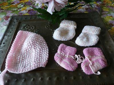 Neuf !! Bonnet Lain Le Lot Rose Tricoté Par Mamie ,3 Pièces + Moufles Offertes !