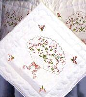 Tobin Crafts, Floral Fan, Quilt Blocks Stamped For Embroidery, 6 Blocks,