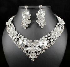 Clover Silver Austrian Rhinestone Crystal Necklace Earrings Set Prom Wed N12190s
