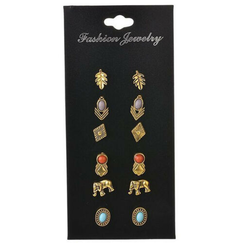 6Pair Bohemia Charm Women Bronze Elephant Leaf Resin Beads Ear Stud Earrings Set