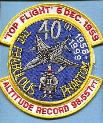McDONNELL F-4 PHANTOM TOP FLIGHT 1959 1999 40th USAF Fighter Squadron Patch