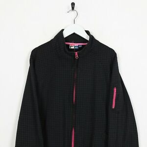 Vintage-Women-039-s-FILA-Small-Logo-Zip-Up-Textured-Sweatshirt-Jumper-Black-XL