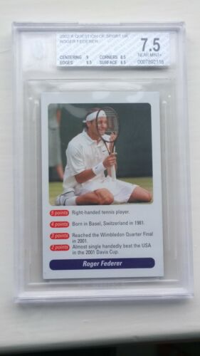 Roger Federer ROOKIE Card A Question of Sport 2002 BGS 7.5 SEE DES