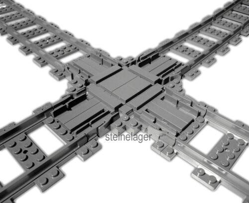 Lego® Eisenbahn RC  **NEU** stabile Kreuzung mit Schienen Bauanleitung Trains