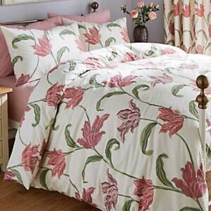 FLORAL-PINK-PURPLE-CREAM-COTTON-BLEND-DOUBLE-DUVET-COVER