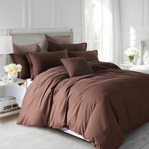 Luxury Plain Dyed Reversible Duvet Quilt Cover Bed Set Inc 2 Pillow Cases
