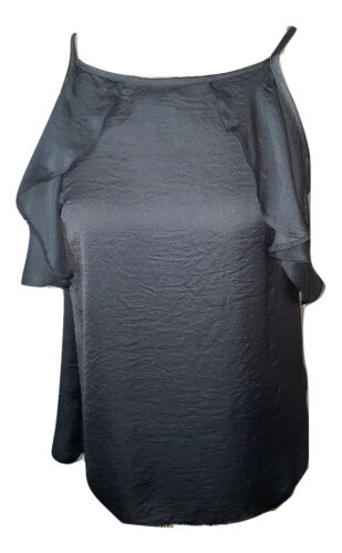 Ladies Shiny Chiffon Grey Top Sizes 8 or 12 Casual Frilly Flowing Strap Primark