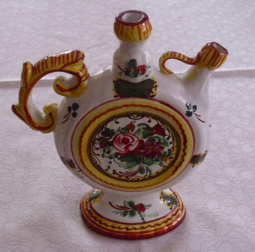 Steingut Keramik Flasche mit Blumen Dekor