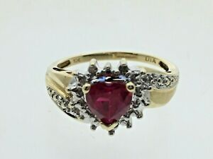 Heart-Shape-Synthetic-Ruby-amp-Pave-Set-Diamond-9-Carat-Gold-Ring-amp-Box-Size-L-1-2