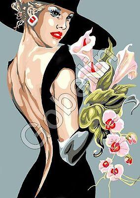 Stickpackung Stickbild Gobelin LADY ca. 22 x 33 cm sticken Handarbeiten