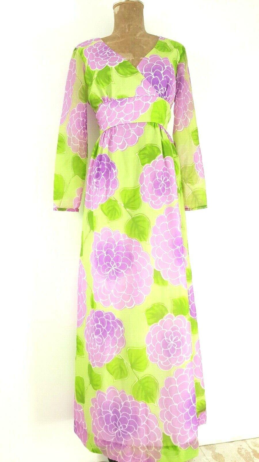 Vintage 60s Malia Honolulu Dress Size Medium Empi… - image 3