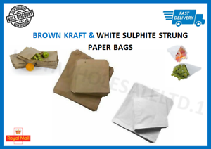 Brown Kraft White Sulphite Strung Paper Bags Food Sandwich Grocery Gift Retail