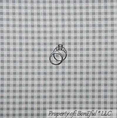 BonEful Fabric FQ Cotton Quilt VTG Gray White Gingham Check Small S Block Square