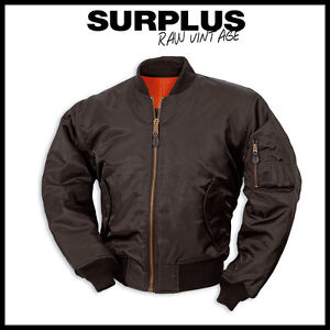 Surplus MA1 Bomber Jacket Reversible Pilot Military Jacket Black S ...